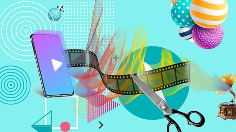 A collage of film strip, smart phone, scissors, and graphical flourishes.