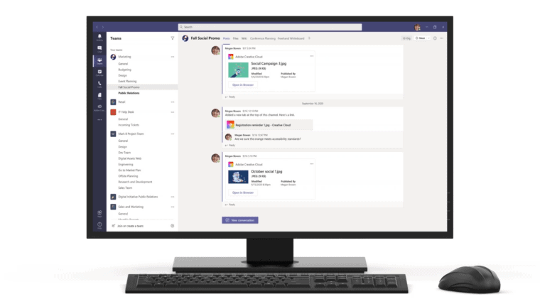 The view is of a computer screen with a view of Microsoft teams