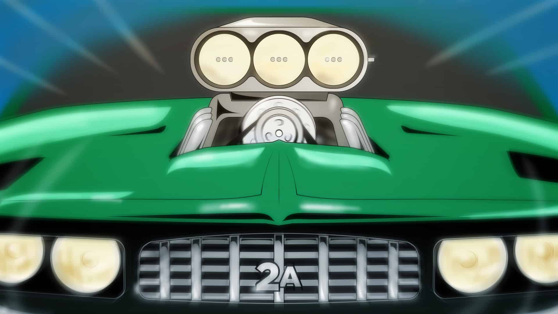 image of a green car hood with a supercharger engine