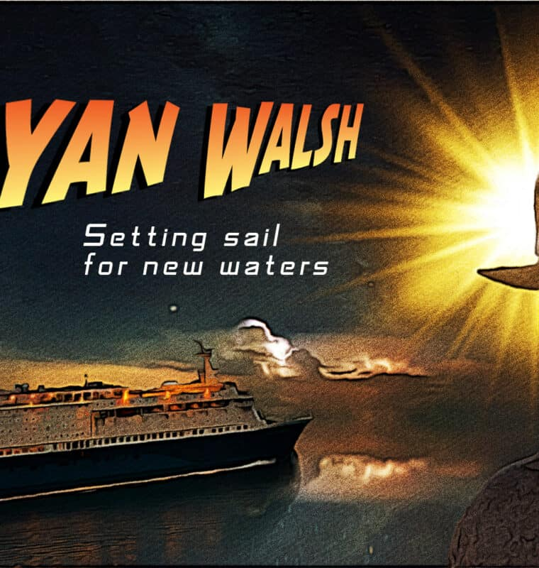 Image of Ryan with a mountain and cruise ship in the background
