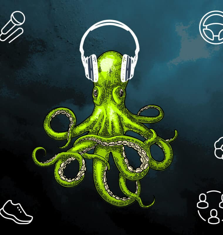 image of an octopus with headphones